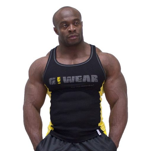 Gorilla Wear G!Wear Rib Tanktop zwart/geel - voorkant