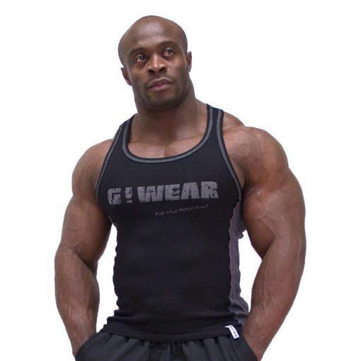Gorilla Wear G!Wear Rib Tanktop zwart grijs - voorkant