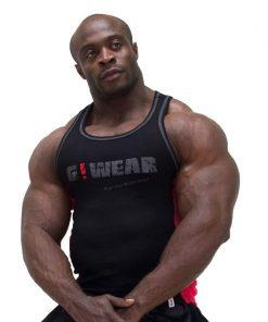 Gorilla Wear G!Wear Rib Tanktop zwart rood - voorkant
