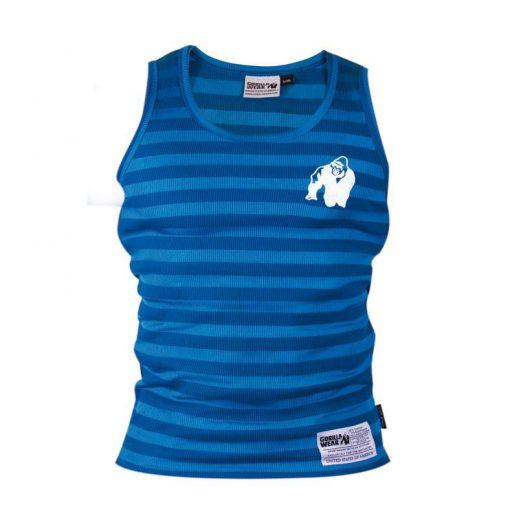 Gorilla Wear Stripe Stretch Tanktop blauw - voorkant vrijstaand