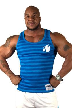 Gorilla Wear Stripe Stretch Tanktop blauw - voorkant
