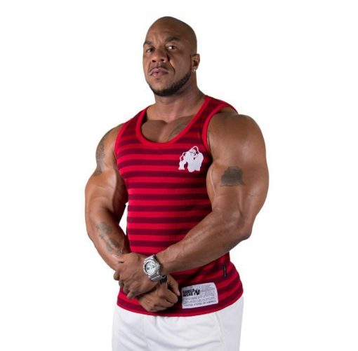 Gorilla Wear Stripe Stretch Tanktop rood - voorkant