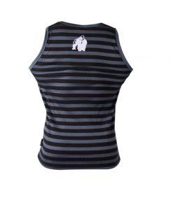 Gorilla Wear Stripe Stretch Tanktop zwart/grijs - achterkant vrijstaand