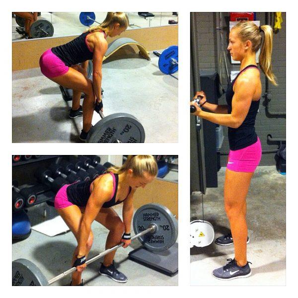 Larissa van Meerten Bodybuilding Kleding Atleet short en fitness singlet in de gym