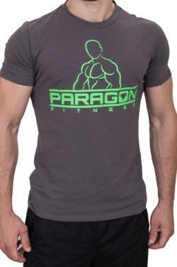 Paragon Fitness bodybuilding shirt grijs groen voorkant