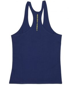 Aesthetix Era bodybuilding stringer singlet blauw geel achterkant