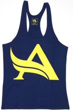 Aesthetix Era bodybuilding stringer singlet blauw geel voorkant