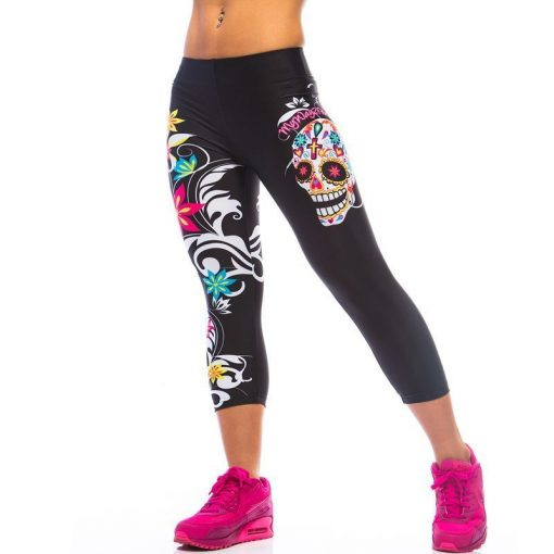 Korte Legging MyWay2Fitness - Sugarskull Perfection Nightshadow-1