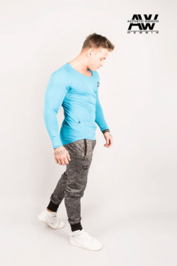 Nebbia T-Shirt 119 - Bodybuilding Longsleeve Blauw-2
