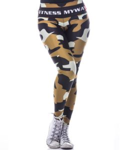 Sportlegging MyWay2Fitness - Camouflage Golden-Olive-1