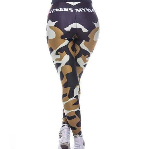 Sportlegging MyWay2Fitness - Camouflage Golden-Olive-3