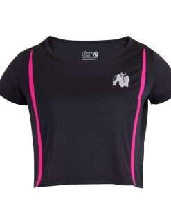 Gorilla Wear Columbia Crop Top Zwart-Roze-1