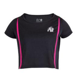 Gorilla Wear Columbia Crop Top Zwart-Roze-1