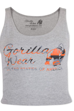 Gorilla Wear Oakland Crop Top Grijs-Oranje-1