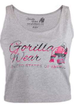 Gorilla Wear Oakland Crop Top Grijs-Roze-1
