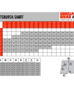 Gorilla-Wear-Pittsburgh-Shorts-maattabel