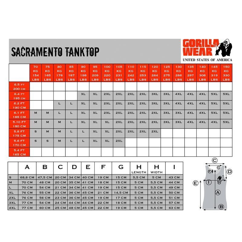 Gorilla-Wear-Sacramento-TankTops-Maattabel