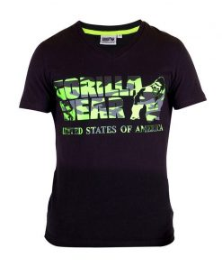 Gorilla Wear Sacramento V-Neck Zwart-Groen-1
