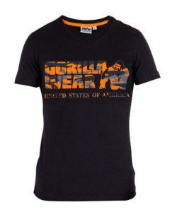 Gorilla Wear Sacramento V-Neck Zwart-Oranje-1