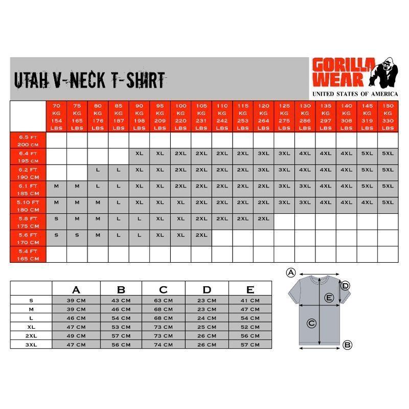 Gorilla-Wear-Utah-T-Shirts-maattabel