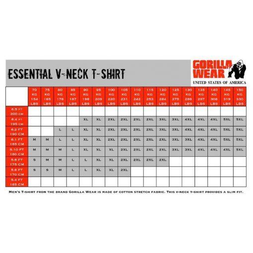 Gorilla-Wear-V-Neck-T-Shirts-maattabel