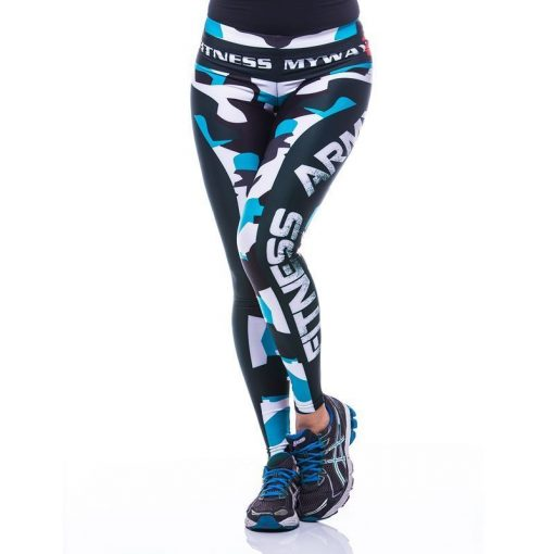 Sportlegging-MyWay2Fitness - Fitness Army - turquoise-1
