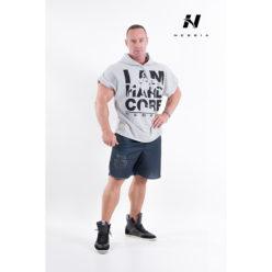 bodybuilding hooded t-shirt lichtgrijs - nebbia hard core regtop hoodie 311-1