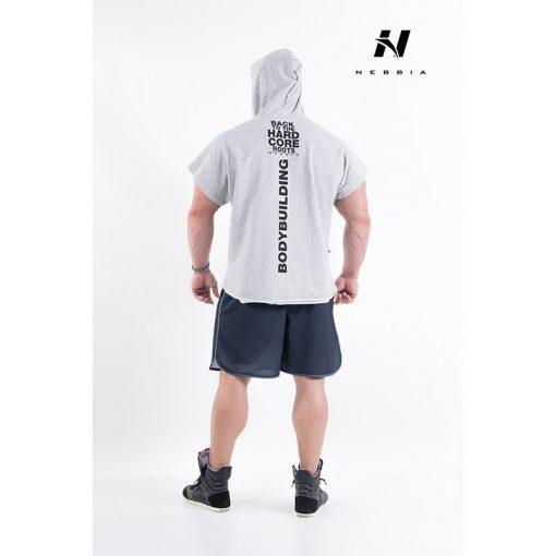bodybuilding hooded t-shirt lichtgrijs - nebbia hard core regtop hoodie 311-2