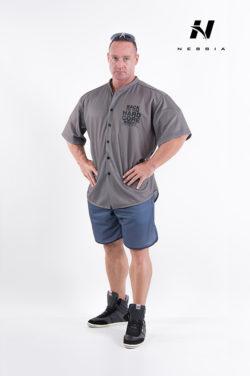 bodybuilding shirt grijs nebbia hard core button shirt 304-1