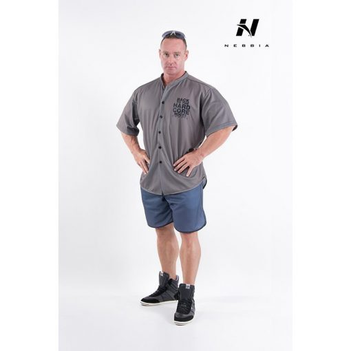 bodybuilding shirt grijs nebbia hard core button shirt 304-1