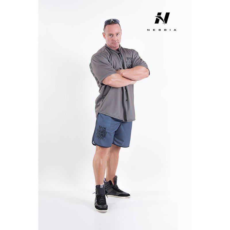 bodybuilding shirt grijs nebbia hard core button shirt 304-2