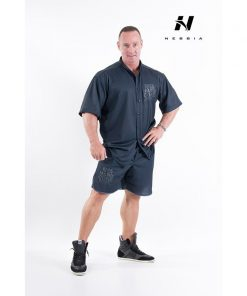 bodybuilding shirt zwart - nebbia hard core button shirt 304-1