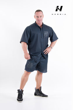 bodybuilding shirt zwart - nebbia hard core button shirt 304-1