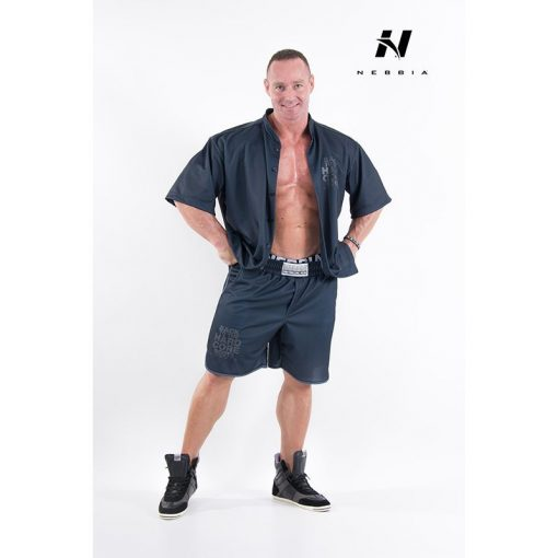 bodybuilding shirt zwart - nebbia hard core button shirt 304-3