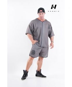 bodybuilding shirt grijs - nebbia hard core button shirt 304-1