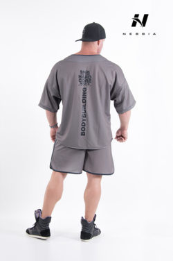 bodybuilding shirt grijs - nebbia hard core button shirt 304-2