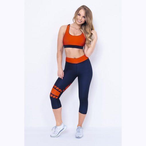 Korte Legging Blauw Rood - Mfit Sportswear Blocks-1
