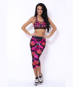 Korte Legging Zwart Roze - Mfit Sportswear Skullyroses-1