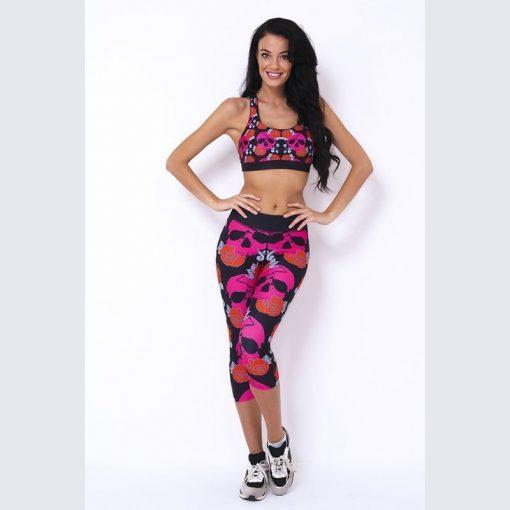 Sporttop Zwart Roze - Mfit Sportswear Skullyroses-1