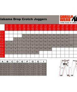 gorilla wear maattabel alabama crotch joggers