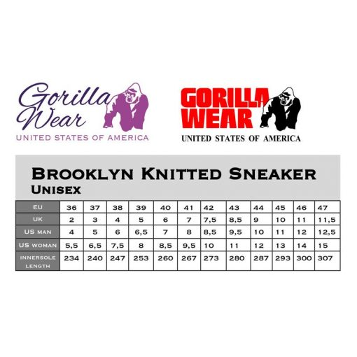 gorilla wear maattabel knitted sneakers