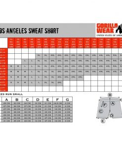 gorilla wear maattabel los angeles shorts