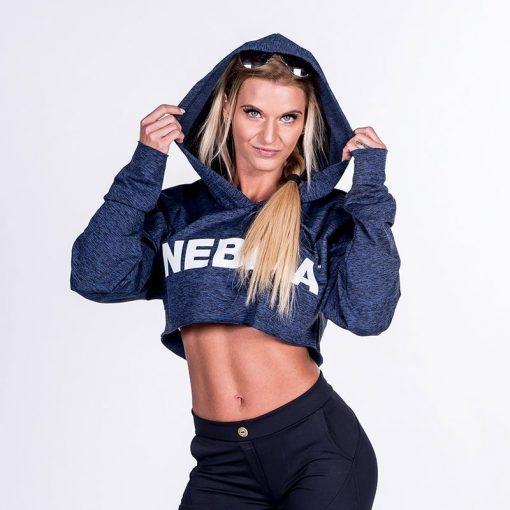 Fitness Crop Top Hoodie Blauw - Nebbia Crop Top 276-1