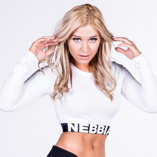 Fitness Longsleeve Crop Top Wit - Nebbia Crop Top 269-1