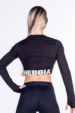 Fitness Longsleeve Crop Top Zwart - Nebbia Crop Top 269-2