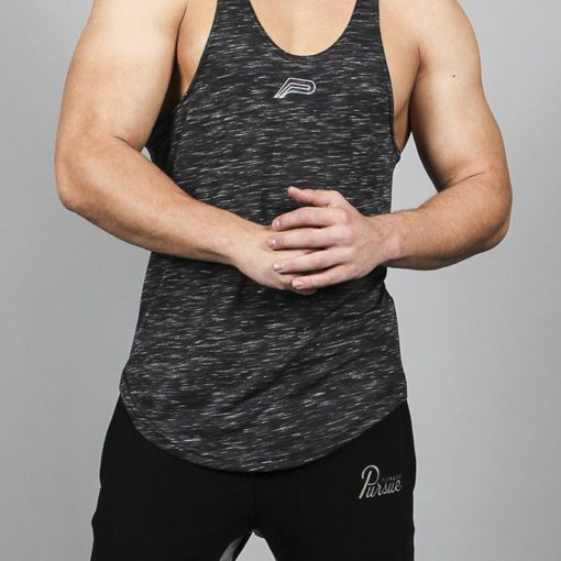 Fitness Stringer Slub Zwart-Wit – Pursue Fitness-1