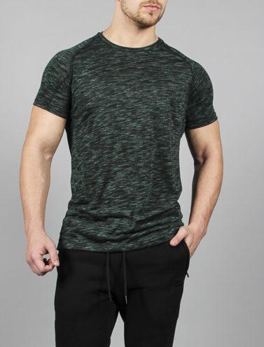 Fitness T-Shirt Slub Zwart-Groen - Pursue Fitness voorkant