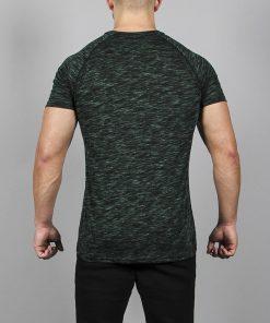 Fitness T-Shirt Slub Zwart-Groen - Pursue Fitness achterkant