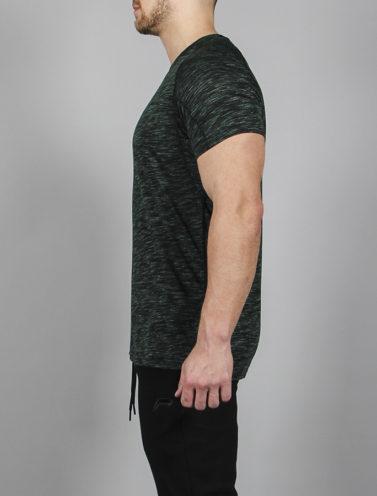Fitness T-Shirt Slub Zwart-Groen - Pursue Fitness zijkant