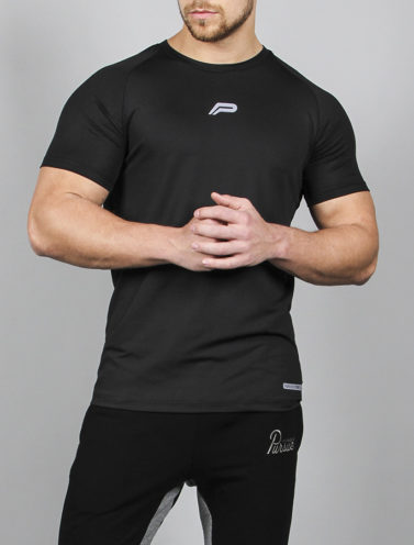 Fitness T-shirt BreathEasy Zwart - Pursue Fitness voorkant